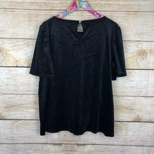 LOFT Tops - LOFT black velvet top size XL // R08